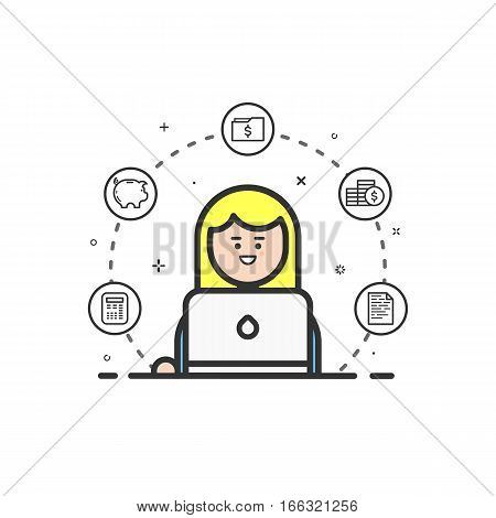 Vector illustration of colored icon in flat line style. Linear cute and happy girl. Graphic design concept of woman financial accountant use in Web Project and Applications Outline isolated object.