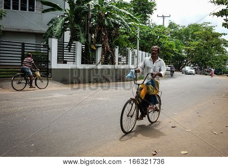 People Biking On Street In Colombo, Sri Lanka