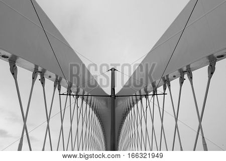Modern Architecture Detail. Abstract Architecture Background, Black And White