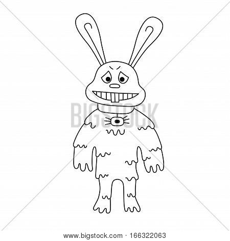 Rabbit monster doodle vector illustration isolated mutant black and white