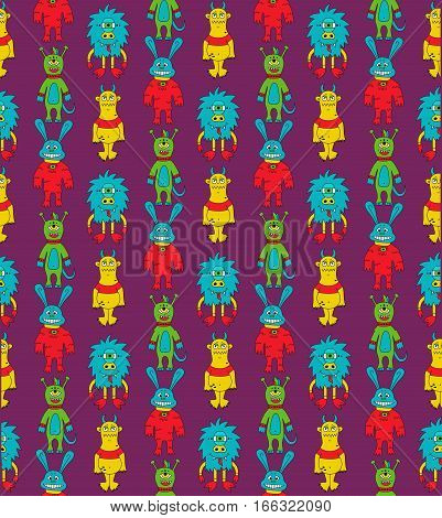 Monsters mutants ogres colorful doodles seamless cute vector pattern