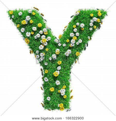 Letter Y Of Green Grass And Flowers. Isolated On White Background. Font For Your Design. 3D Illustration