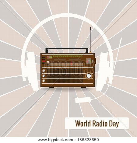 Old radio and headphones silhouette on retro background. World Radio Day Vector Illustration.