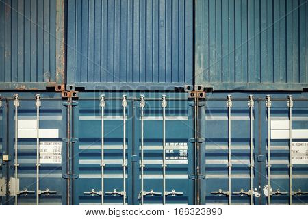 Container box on stack and texture background.