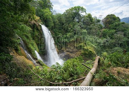 Pulhapanzak waterfall in Honduras in tropical settings