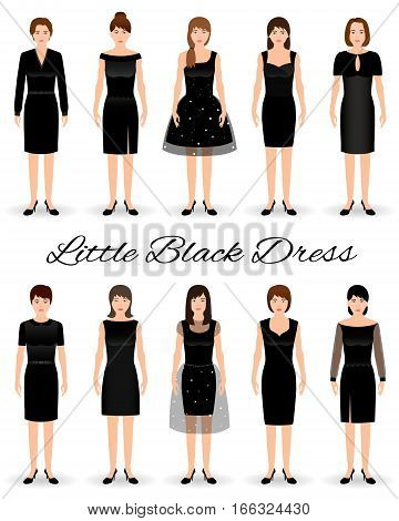 Group of women in little black dresses. Set of cocktail dresses on a models. Flat vector illustration.