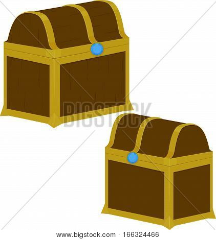 Treasure wooden box on white background. Locked dower chest. Vector illustration