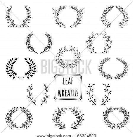 Hand drawn decorative floral wreath made in vector. Unique collection of wreath and branches.