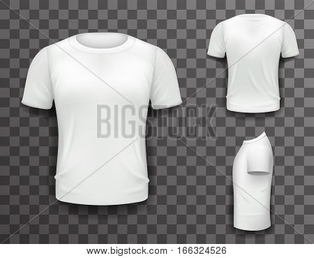 T-shirt Front Side Back View Template Realistic Design Icon Transparent Background Isolated Vector illustration