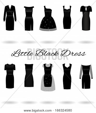 Set of little black dresses in different styles. Cocktail dresses. Flat vector illustration.