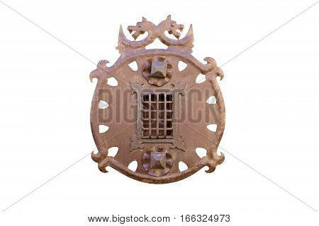 old medieval decorated peephole isolated on white