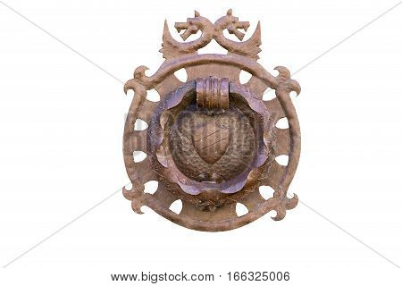 antique decorative medieval door-knocker isolated on white