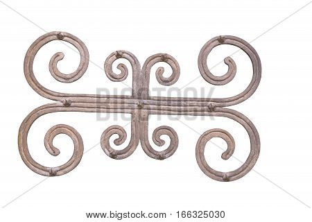 antique decorative medieval ironwork isolated on white