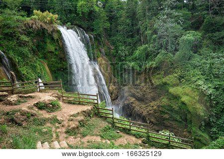 Pulhapanzak waterfall in Honduras in the tropical jungle