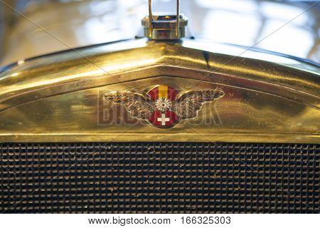 Malaga Spain - December 4 2016: Hispano-Suiza car badge of 1912. Displayed at Museo Automovilistico in Malaga Spain