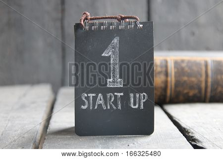 Startup Business, vintage style, tag with the inscription