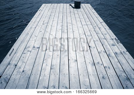 Wooden Pier Perspective, Blue Toned