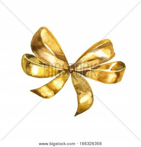 Watercolor graceful golden bow isolated on white background.