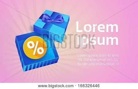 Valentine Day Gift Card Holiday Love Present Colorful Gift Box Banner Flat Vector Illustration
