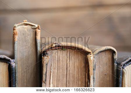 Row of leather vintage books on shelf