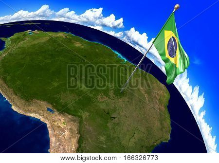 Brazil national flag marking the country location on world map. 3D rendering, parts of this image furnished by NASA