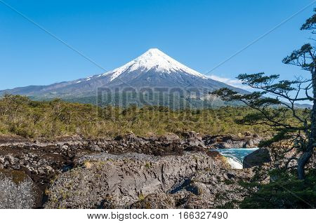 Beautiful view of Osorno volcano, Vicente Perez Rosales National Park, Andes, Patagonia, Chile, South America.