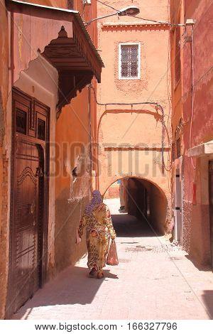MARRAKESH, MOROCCO:  An alley inside Marrakesh Medina