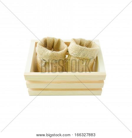 Empty wood box and hemp sack bag isolated on white background with clipping path
