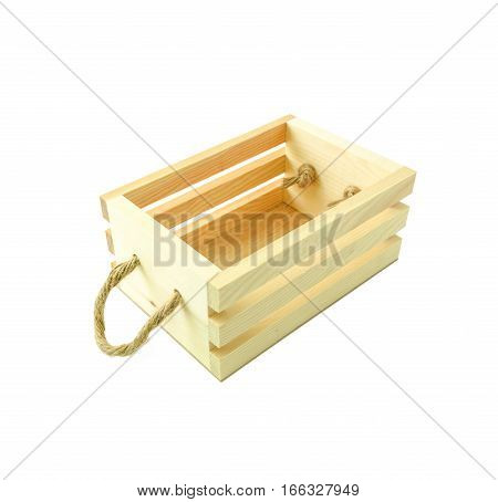 Empty wood box isolated on white background with clipping path
