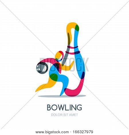 Bowling game vector logo icon or emblem design. Running human with bowling ball in hand and multicolor pin. Sport man isolated overlapping illustration.