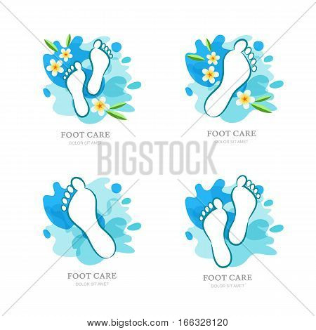 Womens Foot Care. Set Of Vector Logo, Label Design. Female Sole And Flowers On Water Splash Backgrou