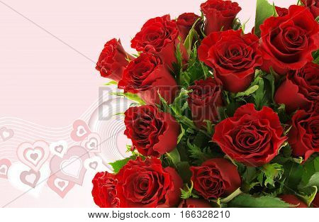 close up of a bouquet of roses with illustrated hearts as a Valentine background image