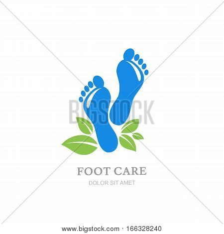 Womens Foot Care Vector Logo, Label Design. Female Sole And Green Leaves.