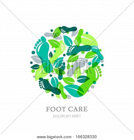 Foot Care Vector Logo, Label Or Emblem Design Elements. Sole, Footprint And Green Leaves In Circle S