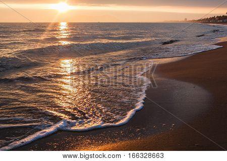 Sunset On Tyrrhenian Sea In Terracina. Italy