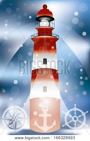 Poster with lighthouse illustration searchlights bubbles in front of ocean and marine symbols