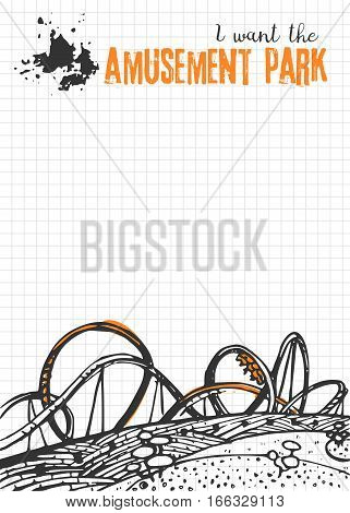 Vector illustration with hand drawn roller coaster. Blank for your design, childrens entertainment