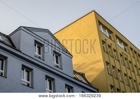 View of different color and style houses