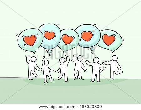 Sketch of little people with speech bubbles and hearts. Doodle cute miniature scene about love and communication. Hand drawn cartoon vector illustration for romantic design.