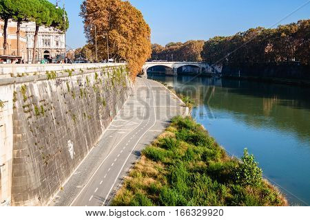 Tiber Embankment With Bike Path On Autumn Day. Rome, Italy