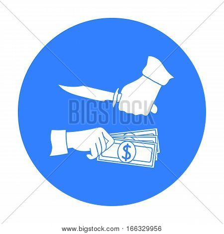 Robbery icon in blue style isolated on white background. Crime symbol vector illustration.