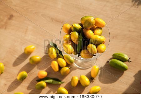 Lots of vitamins in one delicious asian fruit kumquat. Healthy food for vegetarian.