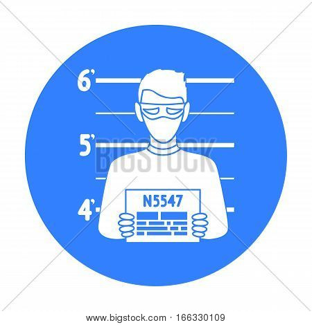 Prisoner s photography icon in blue style isolated on white background. Crime symbol vector illustration.