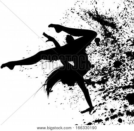Dancing girl in abstract splashes. Vector illustration.