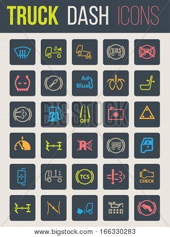 Colorful icon set of thirty for truck dashboards 2