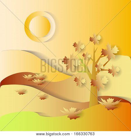 Fall season. vector stylized image. symbolic landscape
