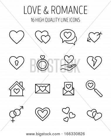Set of love icons in modern thin line style. High quality black outline heart symbols for web site design and mobile apps. Simple romance  pictograms on a white background.
