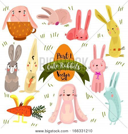 Set Of  Cute Rabbits In Bright Colors.part 1.  Funny Doodle Bunny - Stock Vector