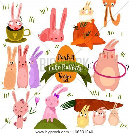 Set Of  Cute Rabbits In Bright Colors.part 2.  Funny Doodle Bunny - Stock Vector