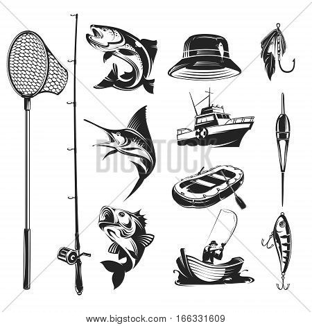 Set of vector icons on the theme of fishing - marlin and trout in various poses, fishing rod, fishing hooks, float, baubles, hat, boats.